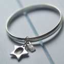 Star Fingerprint Charm And Rectangle Tag